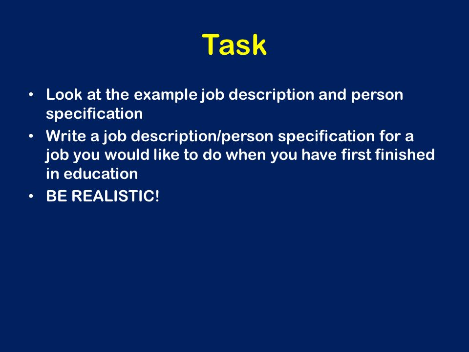How to write a job & person specification