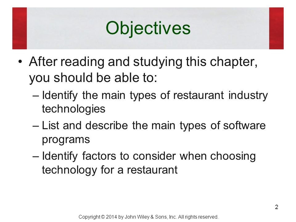 restaurant financial objectives Opening a restaurant requires you to consider all facets of the business before the actual opening you must draft goals and objectives as part of your business plan in addition to the look of.