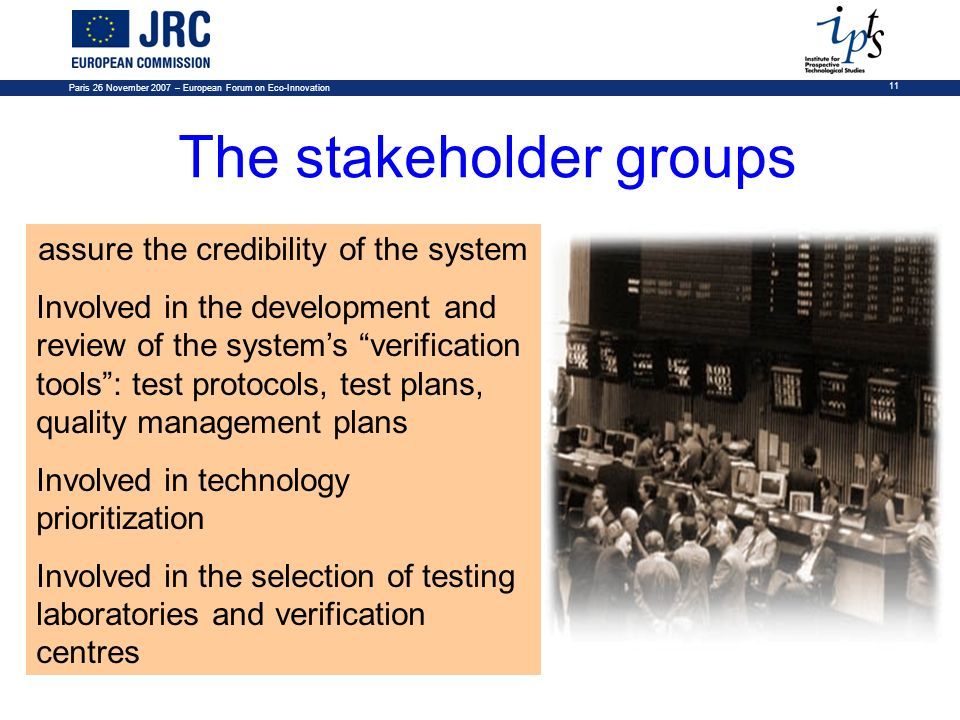 The stakeholder groups