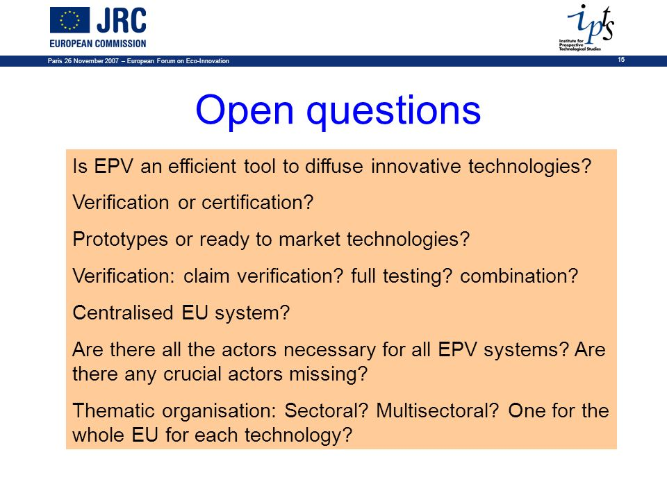 Paris 26 November 2007 – European Forum on Eco-Innovation
