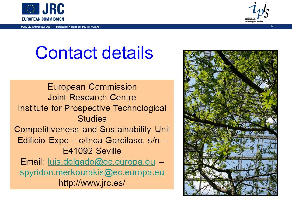 Contact details European Commission Joint Research Centre