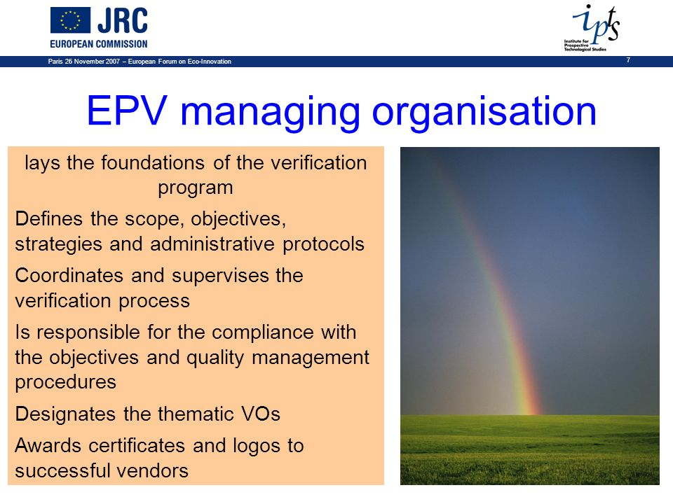 EPV managing organisation