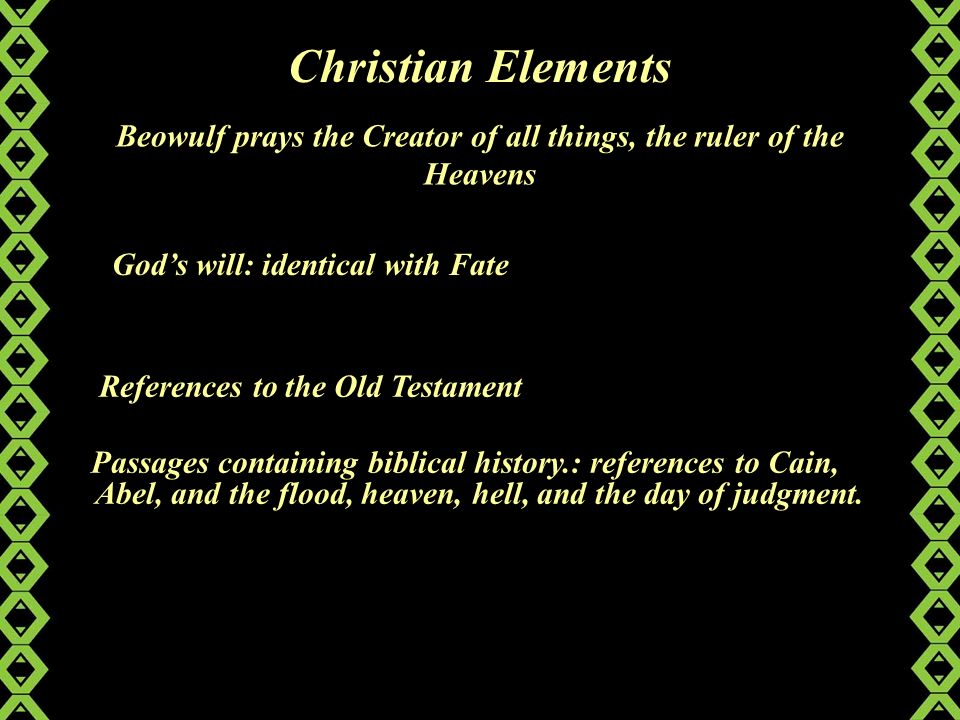 an analysis of the christian elements in beowulf
