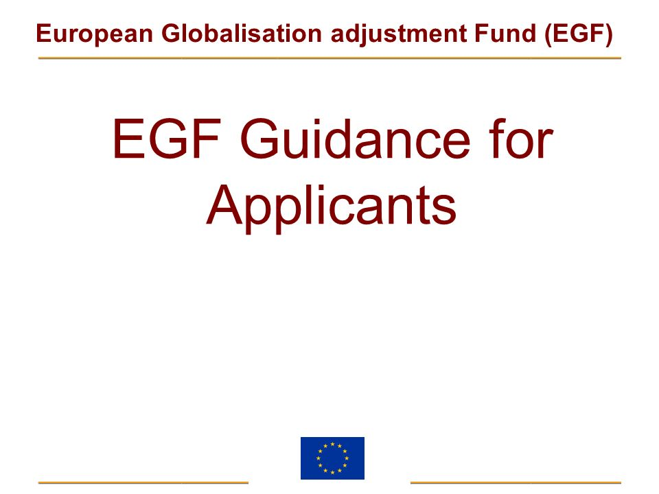 EGF Guidance for Applicants