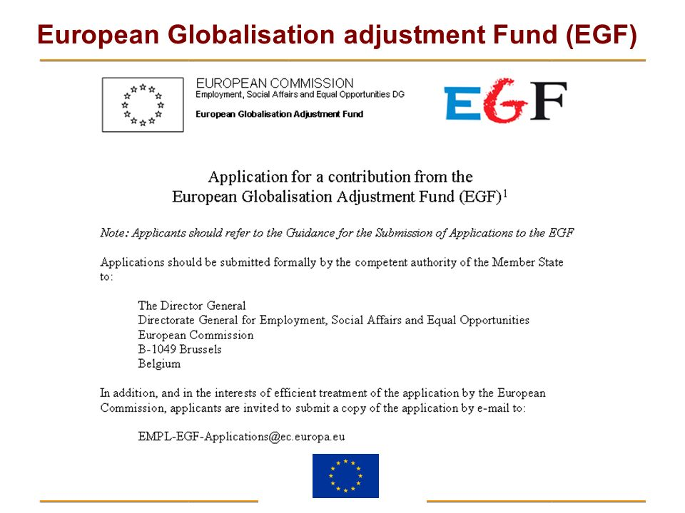 The document that you have in front of you, which you see on the screen, and which is available on the EGF website, is the Commission's proposed Standardised Application Form.