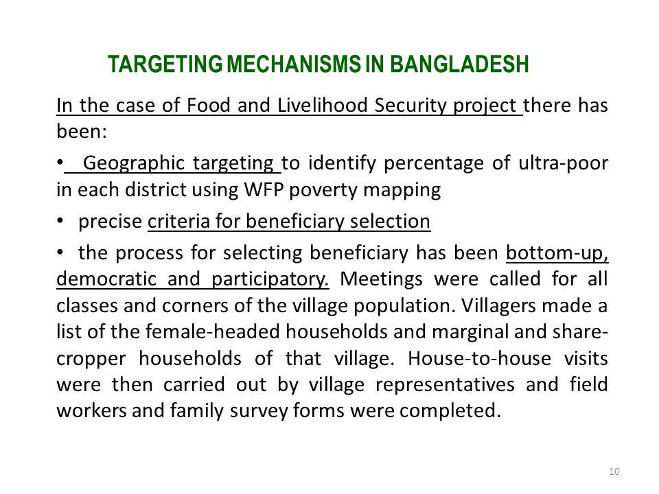TARGETING MECHANISMS IN BANGLADESH