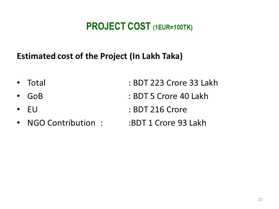 PROJECT COST (1EUR=100TK) Estimated cost of the Project (In Lakh Taka)