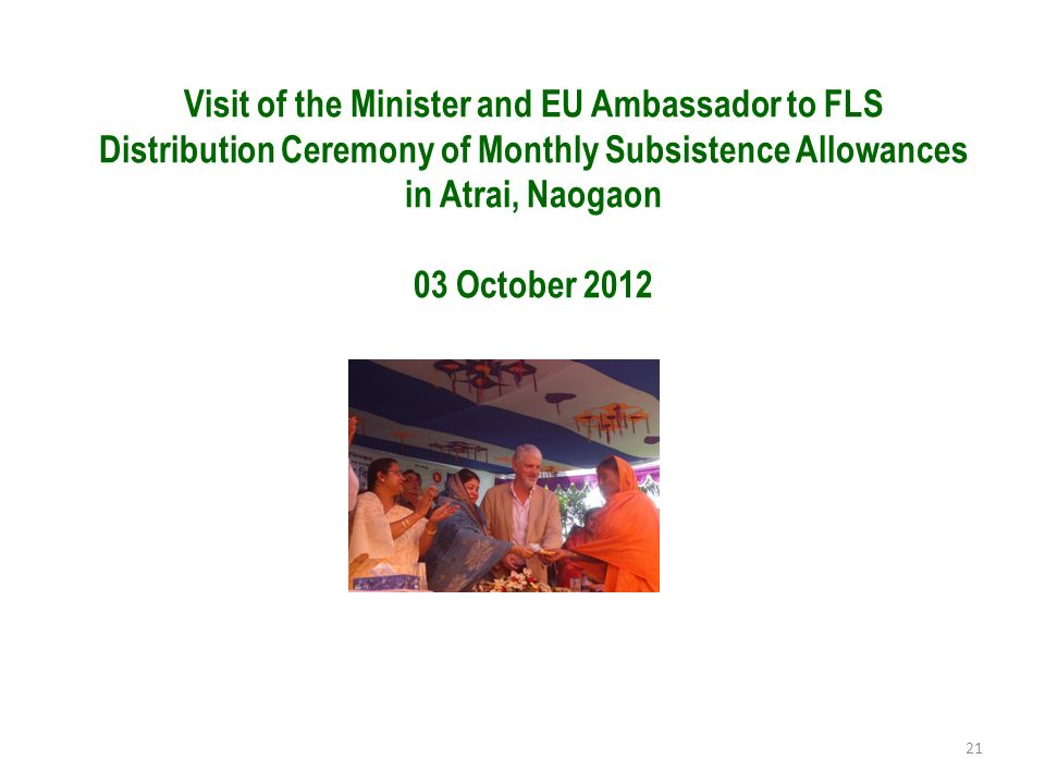 Visit of the Minister and EU Ambassador to FLS Distribution Ceremony of Monthly Subsistence Allowances in Atrai, Naogaon