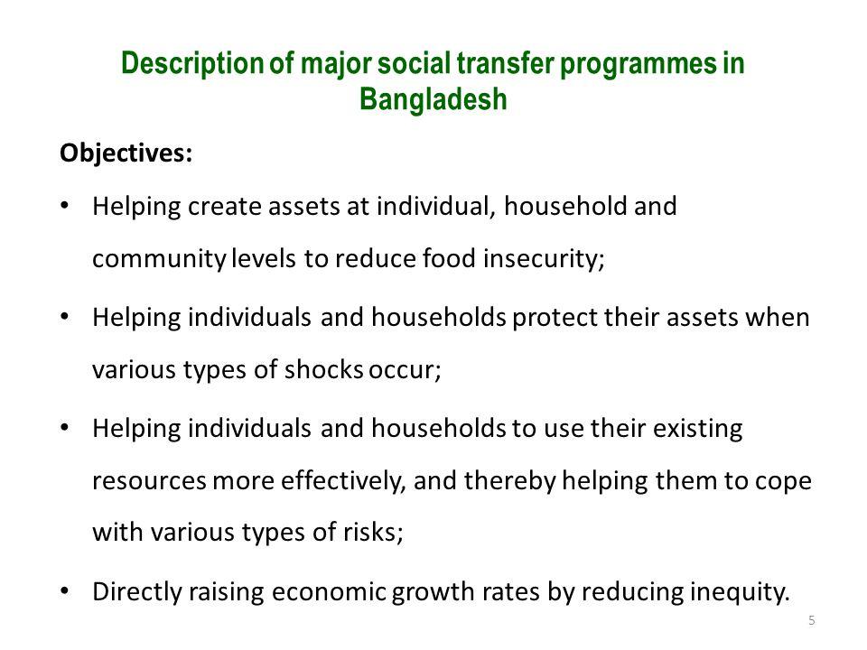 Description of major social transfer programmes in Bangladesh
