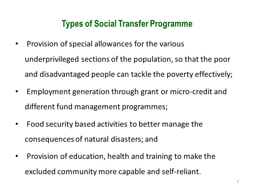 Types of Social Transfer Programme