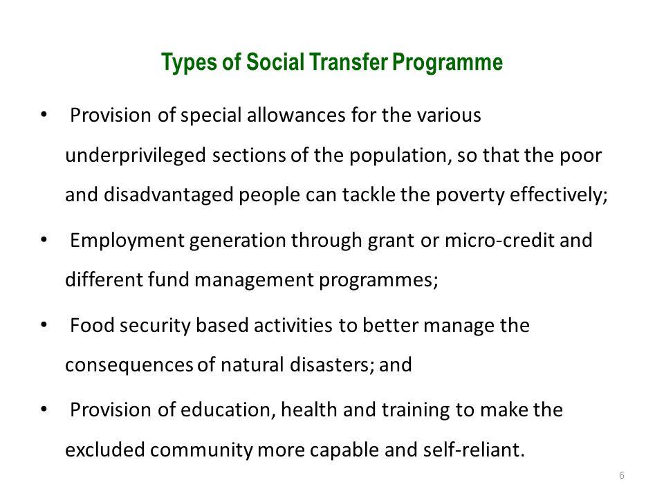Types of Social Transfer Programme
