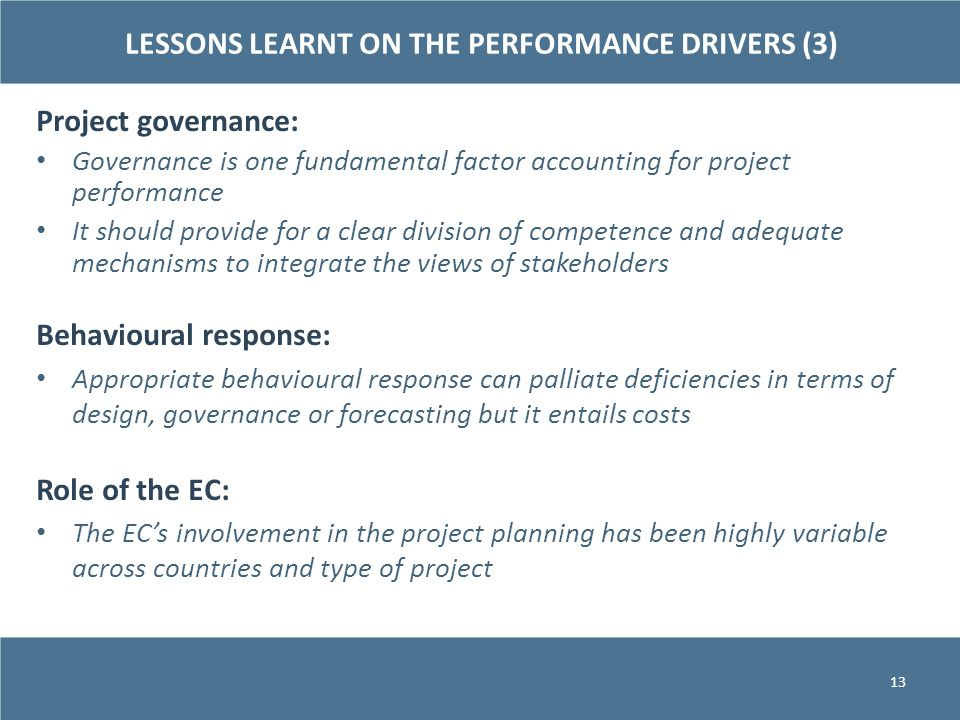 LESSONS LEARNT ON THE PERFORMANCE DRIVERS (3)