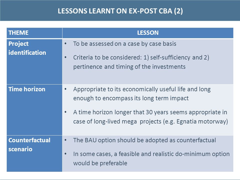 LESSONS LEARNT ON EX-POST CBA (2)