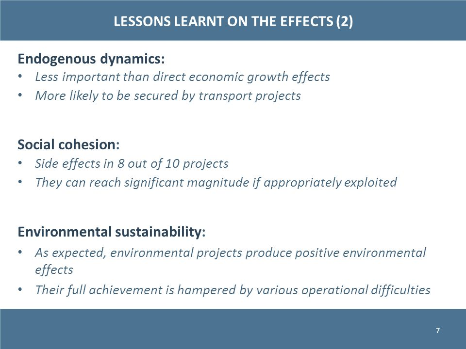 LESSONS LEARNT ON THE EFFECTS (2)