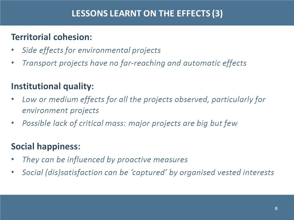 LESSONS LEARNT ON THE EFFECTS (3)