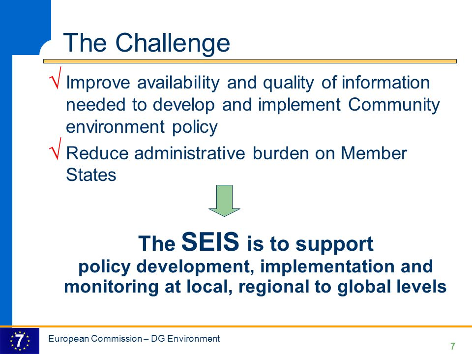 The Challenge Improve availability and quality of information needed to develop and implement Community environment policy.