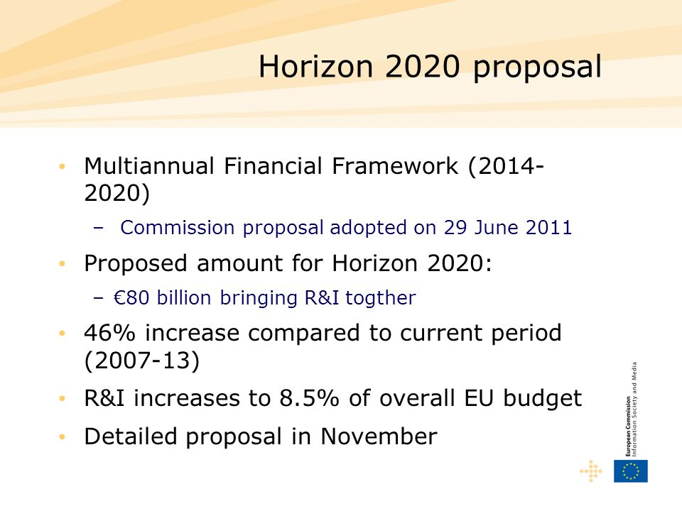 Horizon 2020 proposal Multiannual Financial Framework (2014-2020)