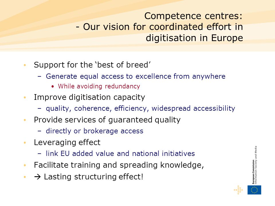 Competence centres: - Our vision for coordinated effort in digitisation in Europe