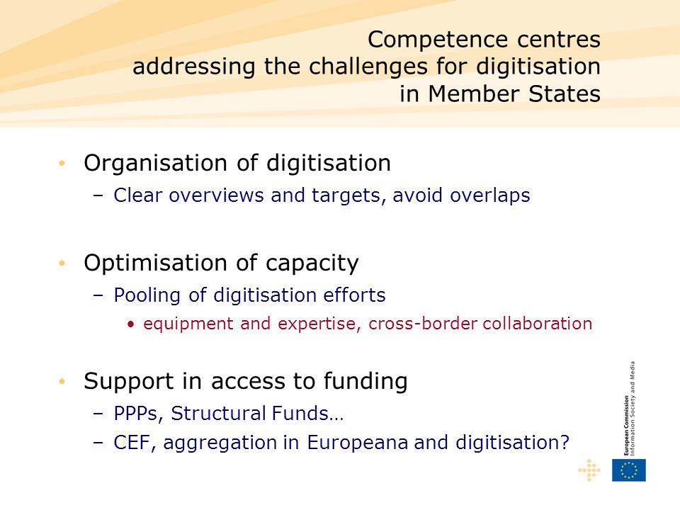 Organisation of digitisation