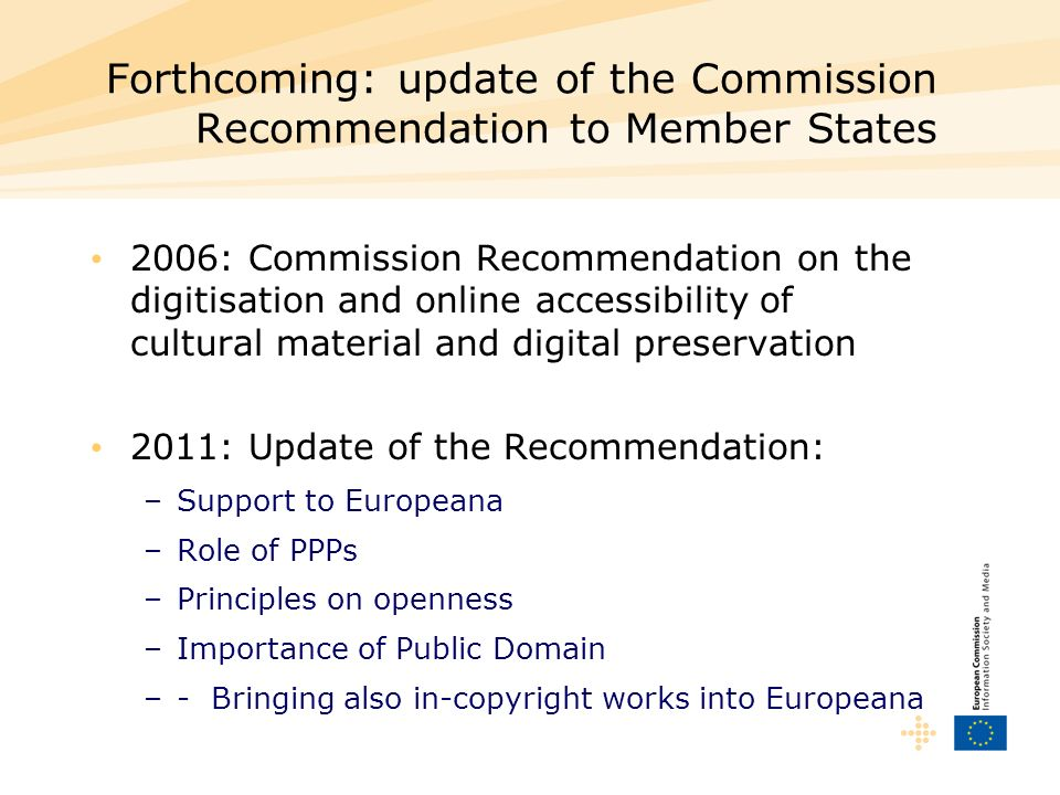 Forthcoming: update of the Commission Recommendation to Member States