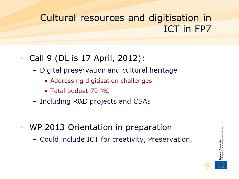 Cultural resources and digitisation in ICT in FP7