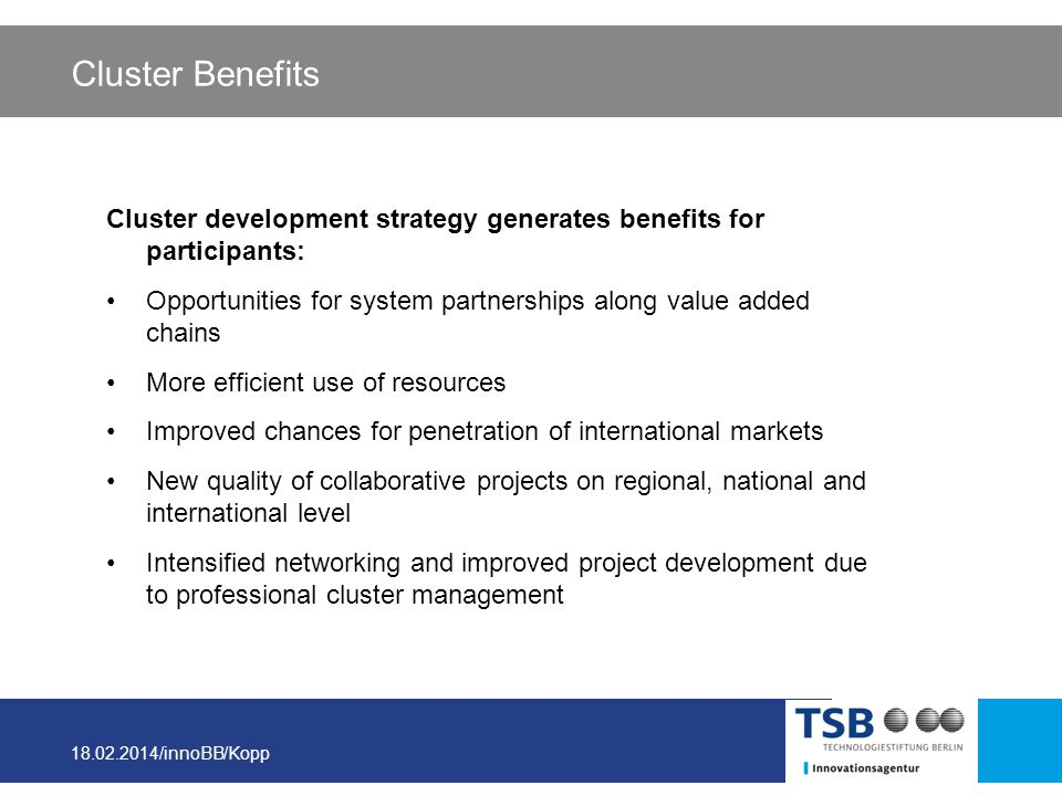 Cluster Benefits Cluster development strategy generates benefits for participants: Opportunities for system partnerships along value added chains.