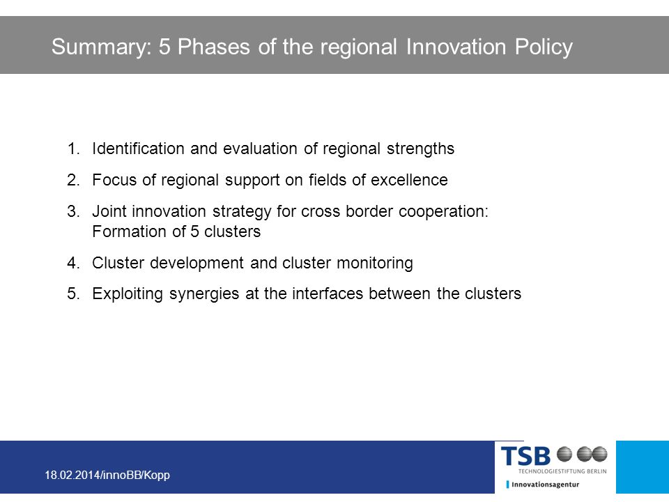 Summary: 5 Phases of the regional Innovation Policy