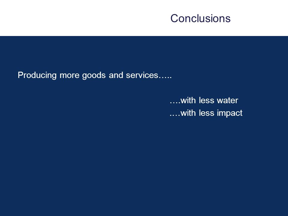 Conclusions Producing more goods and services….. ….with less water