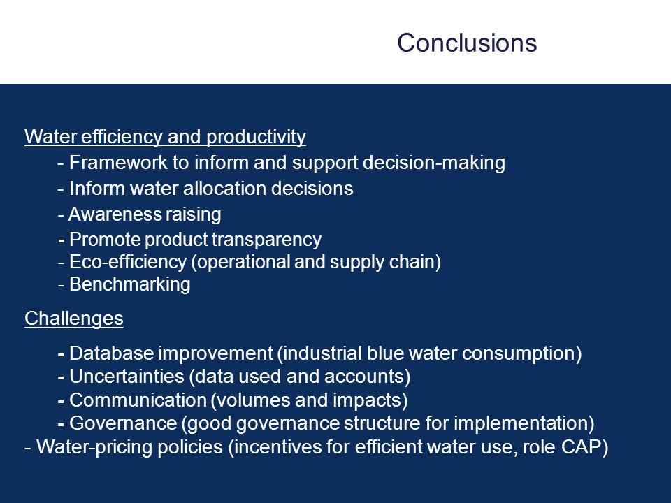 Conclusions Water efficiency and productivity