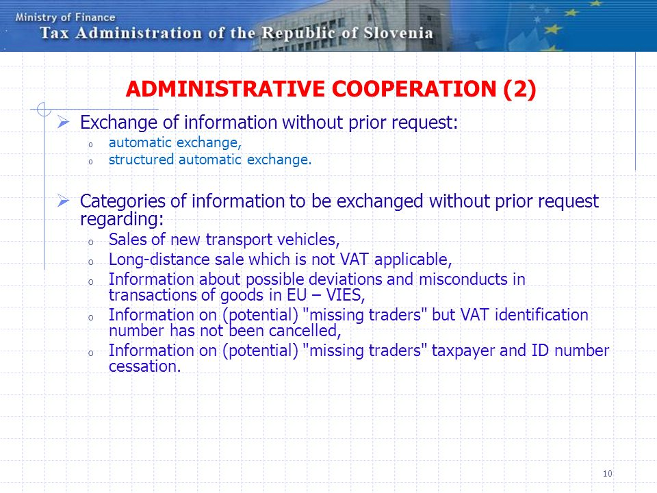 ADMINISTRATIVE COOPERATION (2)