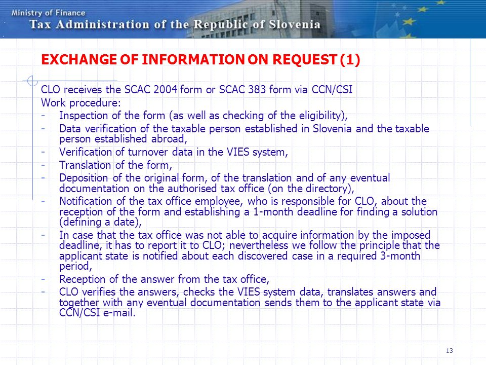 EXCHANGE OF INFORMATION ON REQUEST (1)