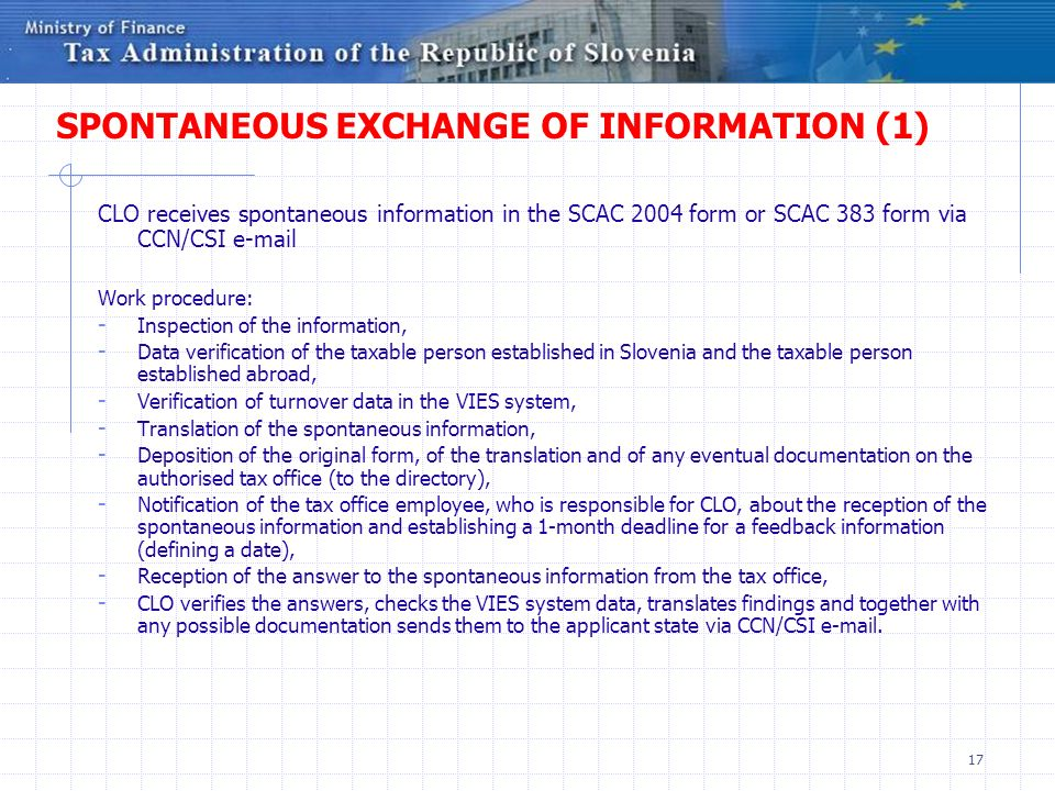 SPONTANEOUS EXCHANGE OF INFORMATION (1)