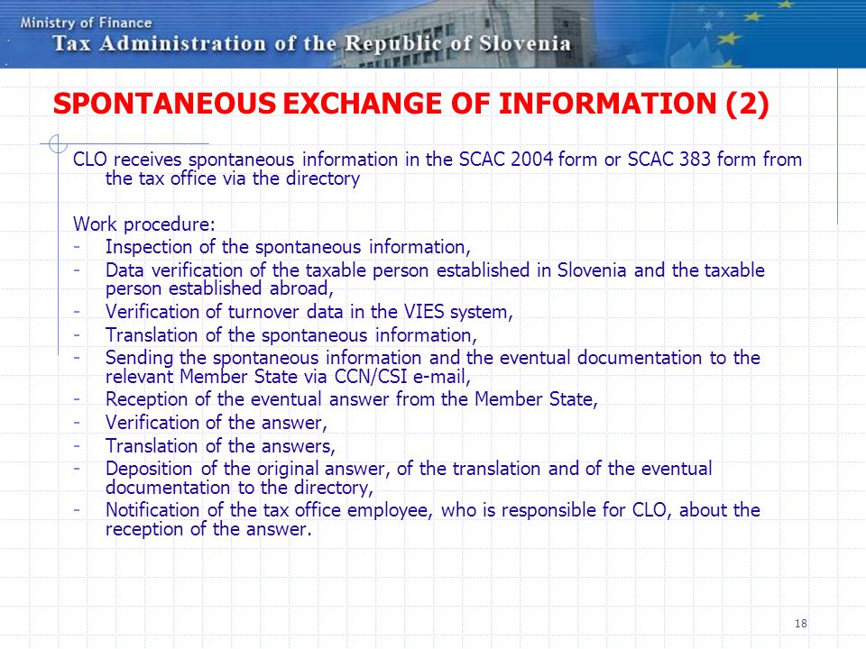 SPONTANEOUS EXCHANGE OF INFORMATION (2)