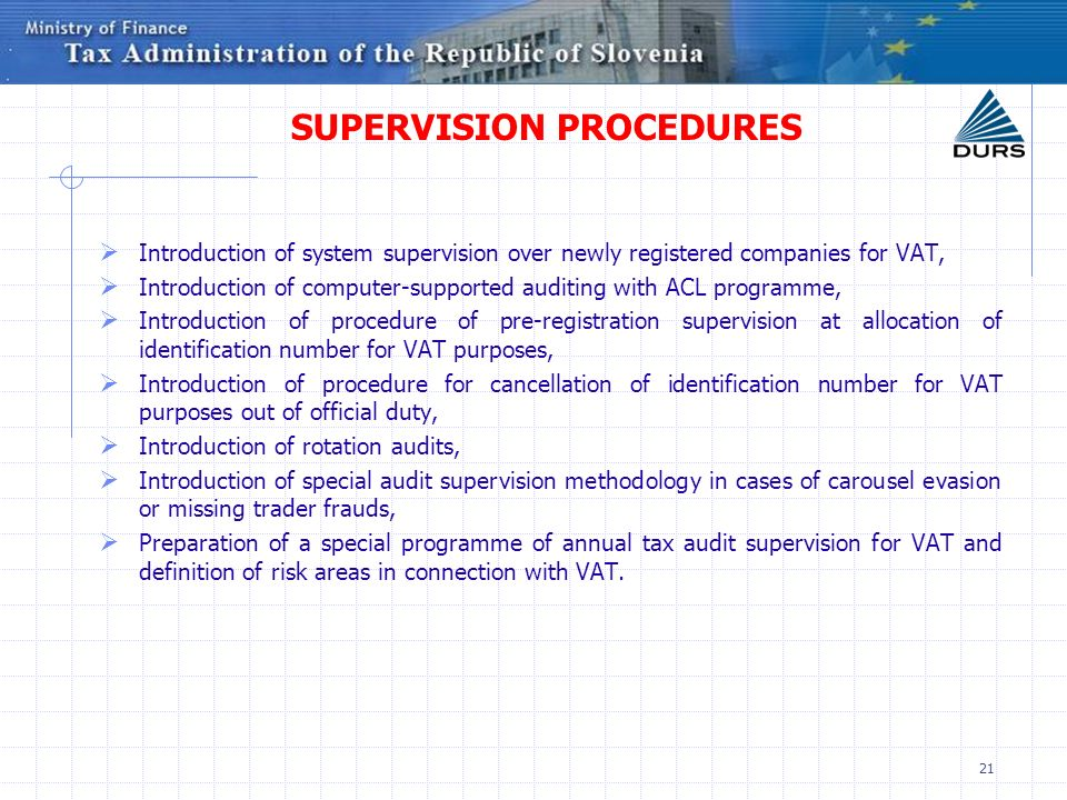 SUPERVISION PROCEDURES