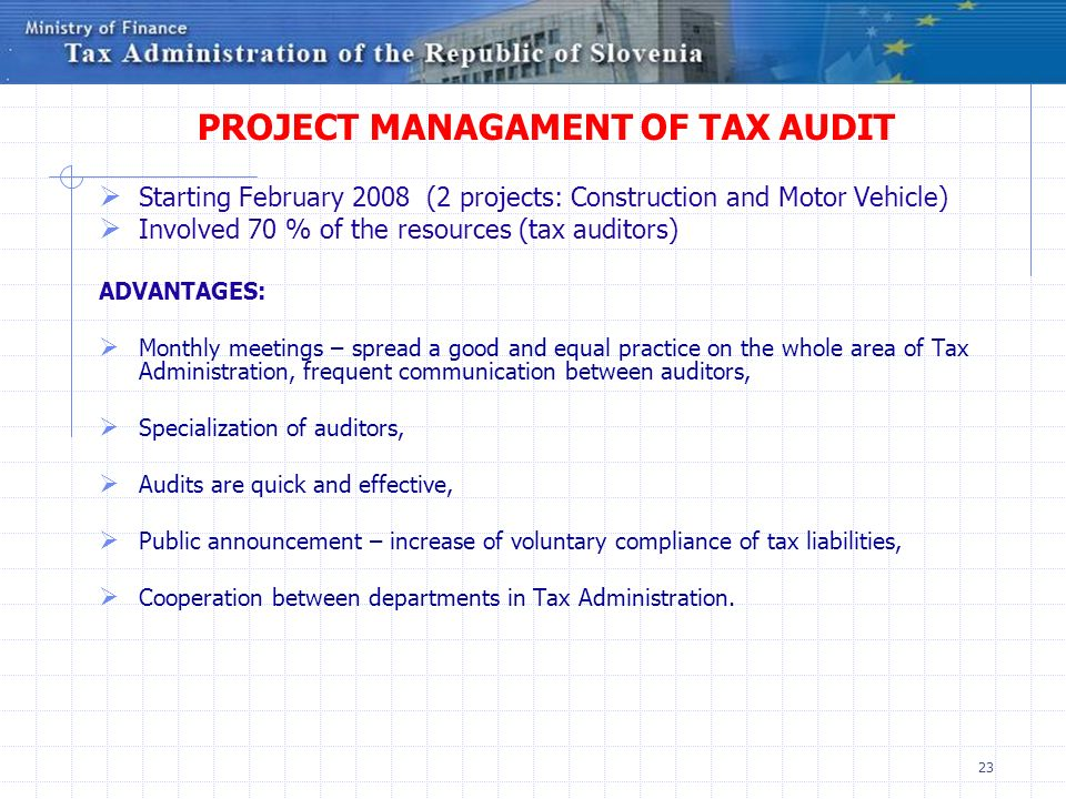 PROJECT MANAGAMENT OF TAX AUDIT