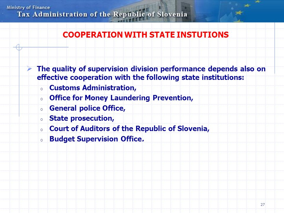 COOPERATION WITH STATE INSTUTIONS