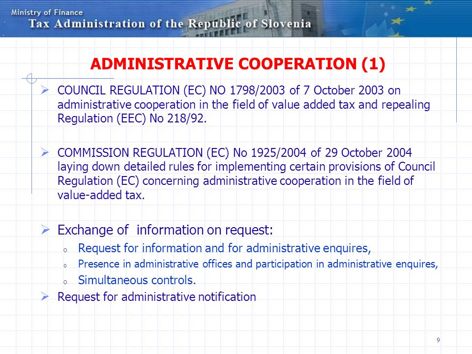 ADMINISTRATIVE COOPERATION (1)