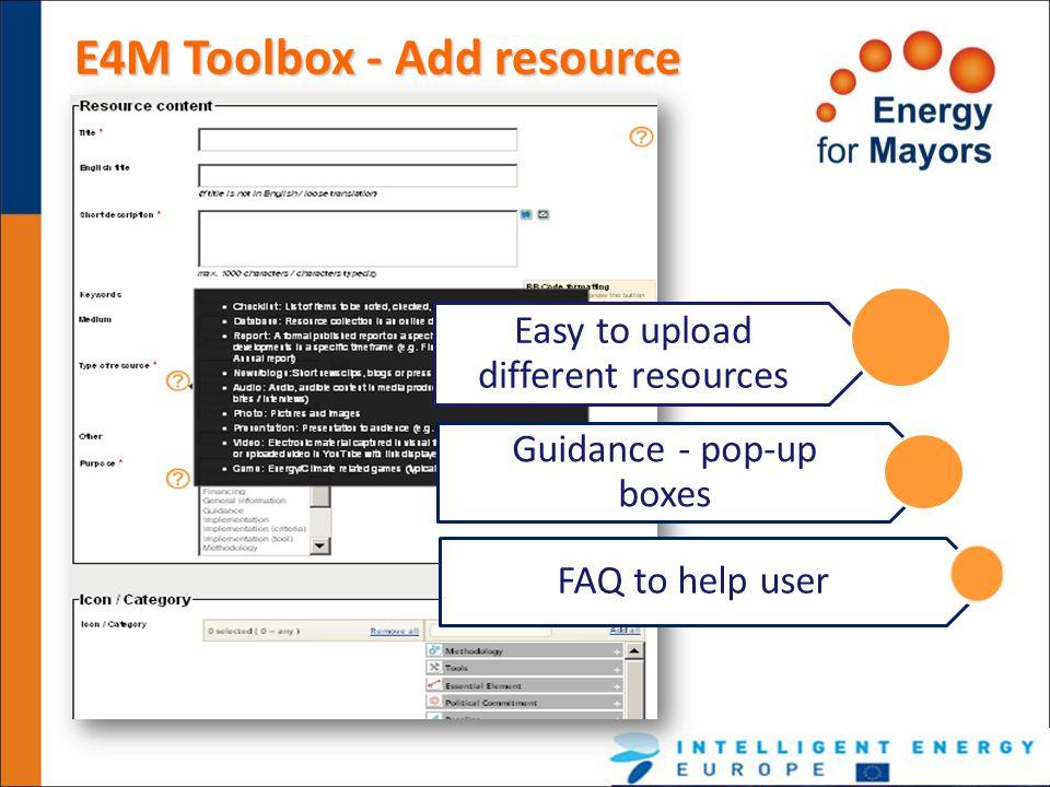 E4M Toolbox - Add resource