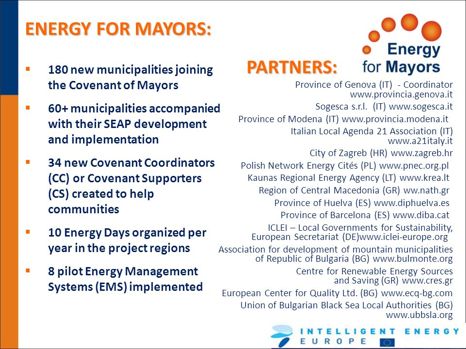 ENERGY FOR MAYORS: PARTNERS: