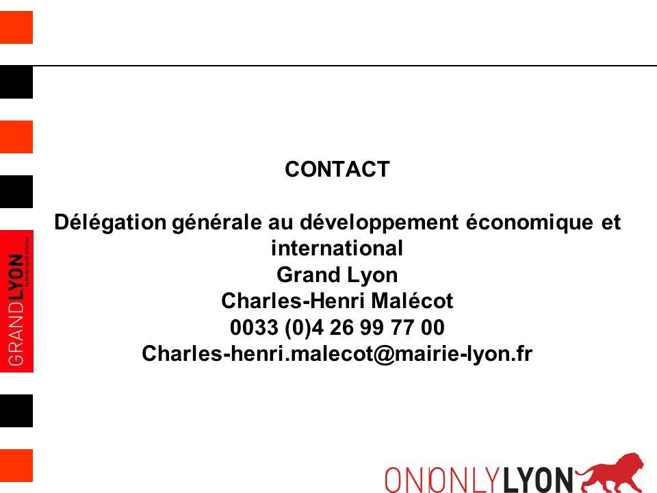 CONTACT Délégation générale au développement économique et international Grand Lyon Charles-Henri Malécot 0033 (0)4 26 99 77 00 Charles-henri.malecot@mairie-lyon.fr