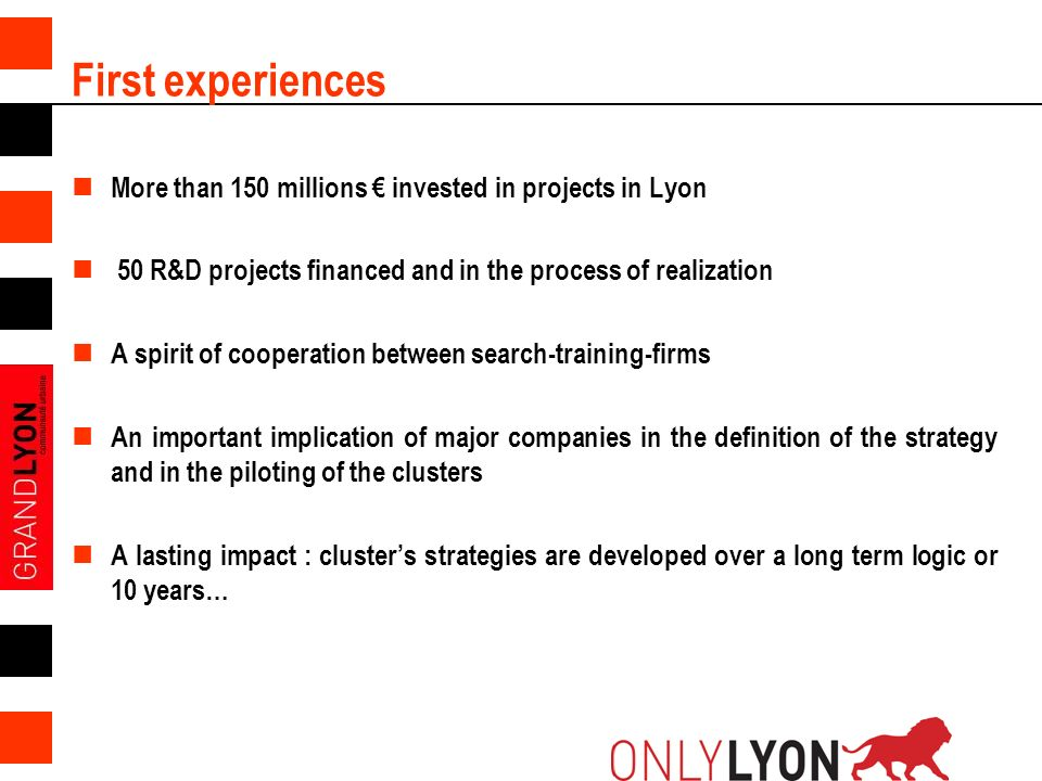 First experiences More than 150 millions € invested in projects in Lyon. 50 R&D projects financed and in the process of realization.