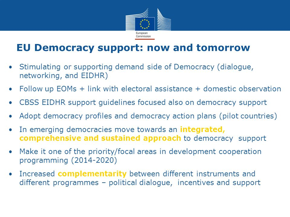 EU Democracy support: now and tomorrow