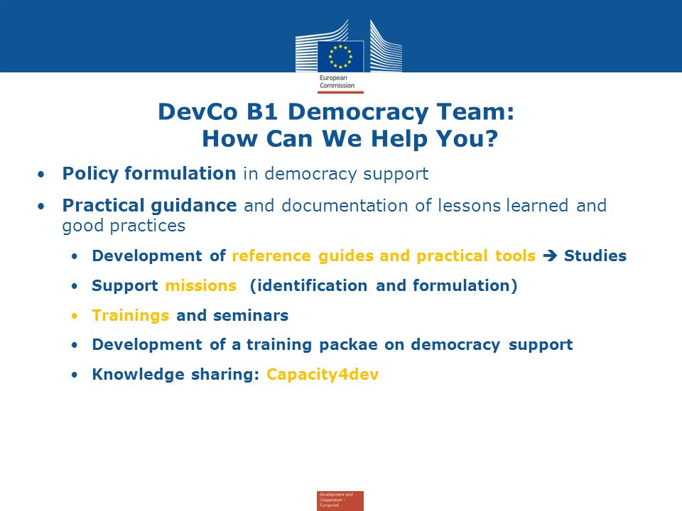 DevCo B1 Democracy Team: How Can We Help You