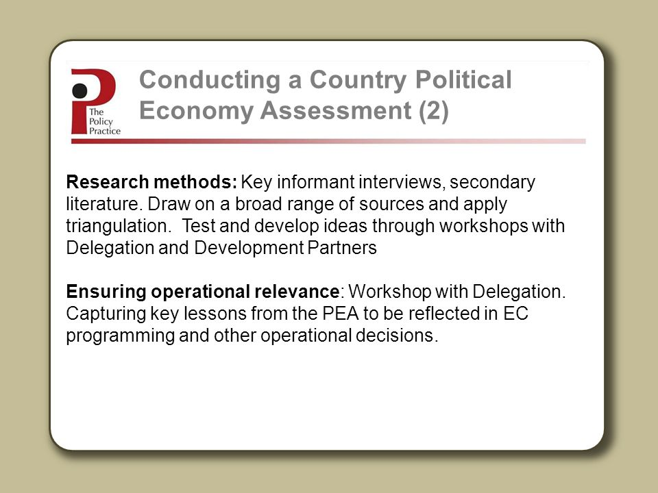Conducting a Country Political Economy Assessment (2)