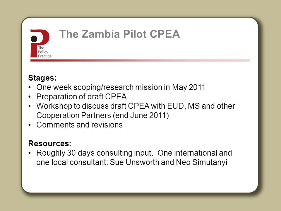 The Zambia Pilot CPEA Stages: