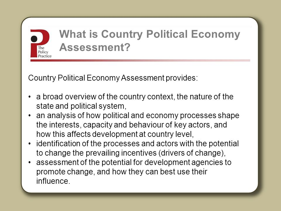 What is Country Political Economy Assessment