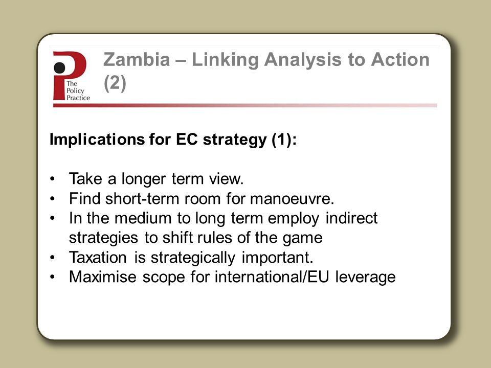 Zambia – Linking Analysis to Action (2)