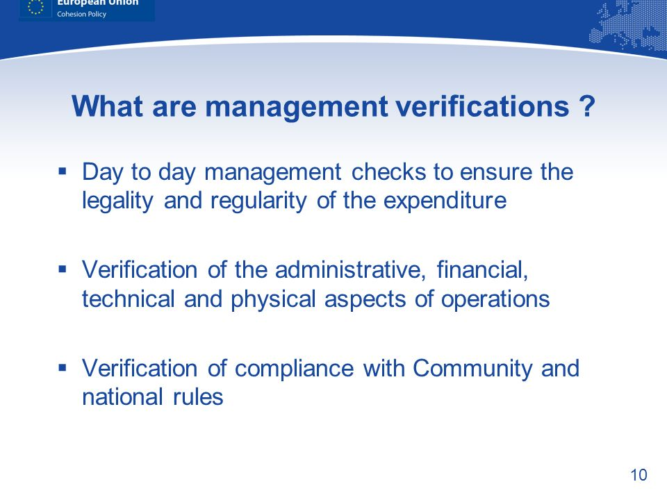 What are management verifications