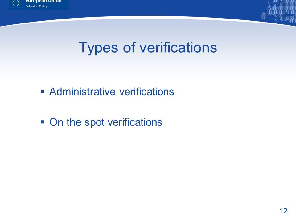 Types of verifications