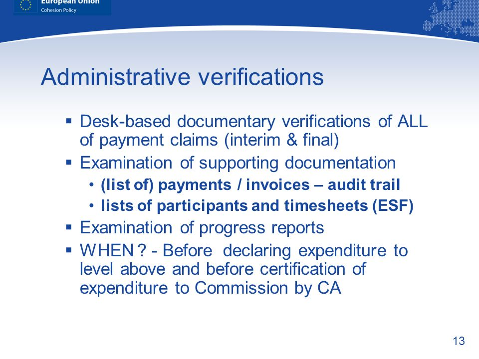 Administrative verifications